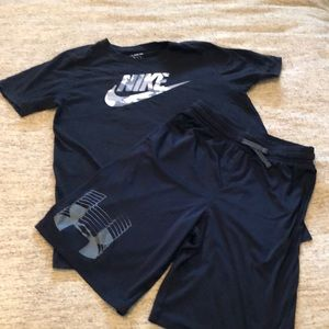 Nike tee and Under Armour shorts